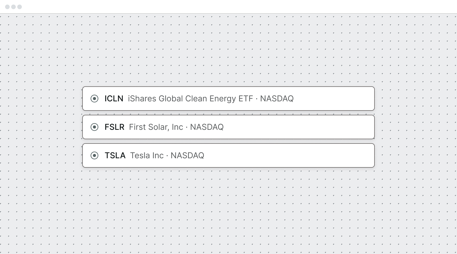 Three stock picks: ICLN, FSLR, TSLA.