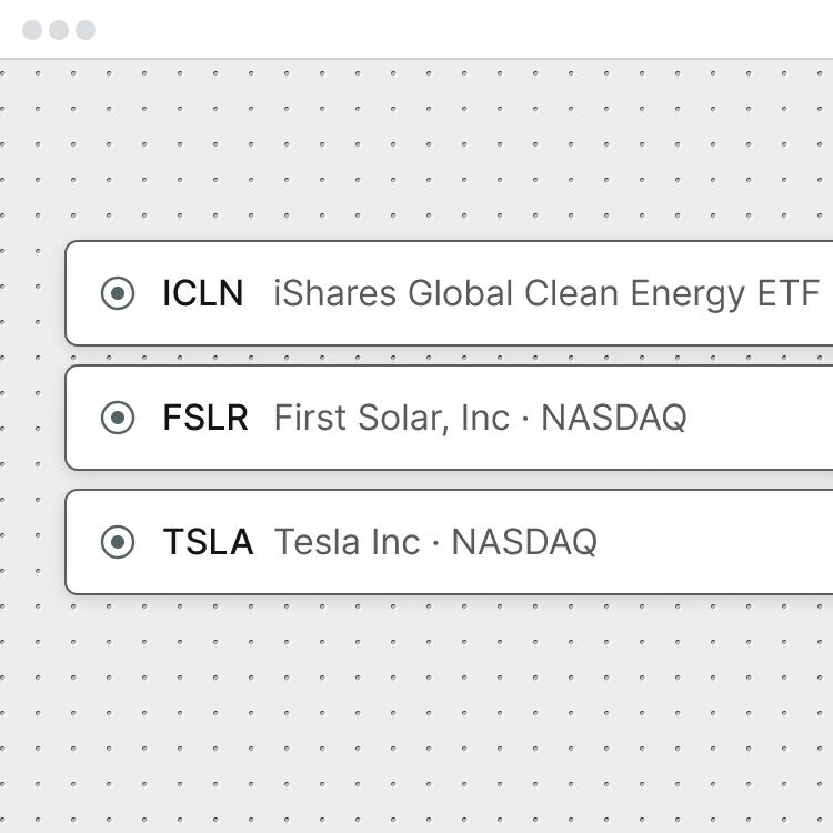 Three stock picks: ICLN, FSLR, TSLA.