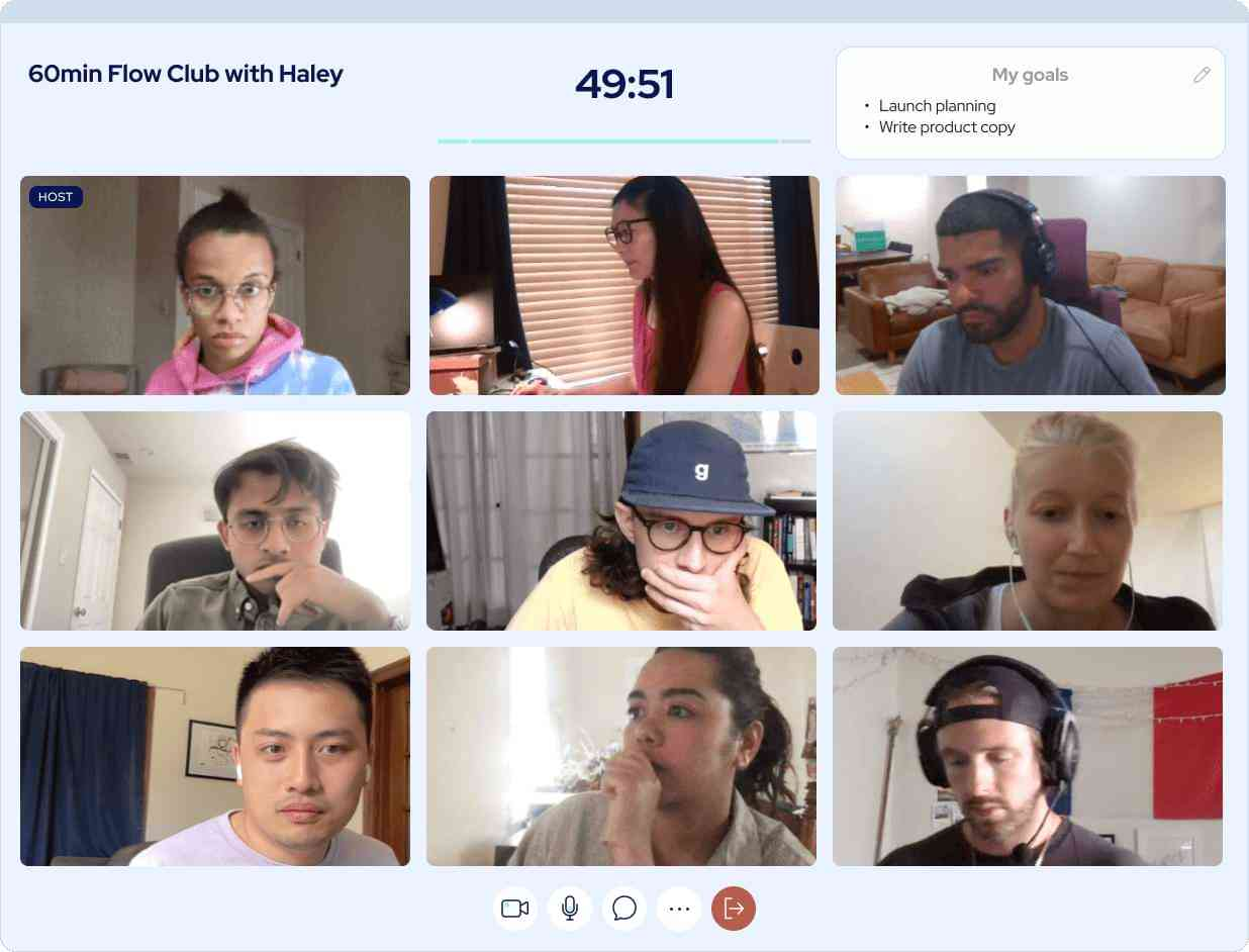 9 people in a video conference