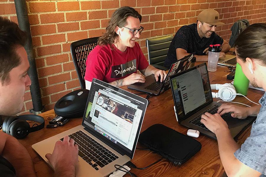 Team at desk