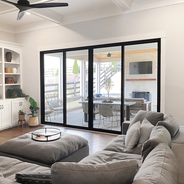 Interior view of sliding glass door.