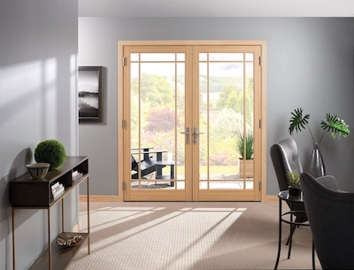 Interior view of Inswing French Door.