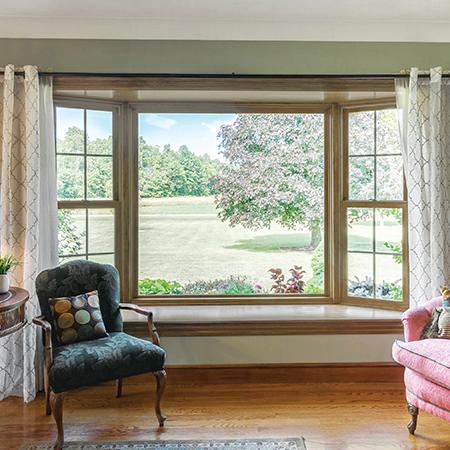 Interior bay window.
