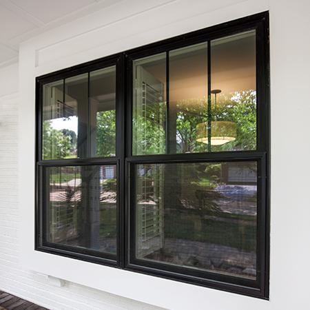 Exterior double hung windows.