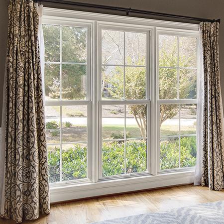 Interior double hung windows.