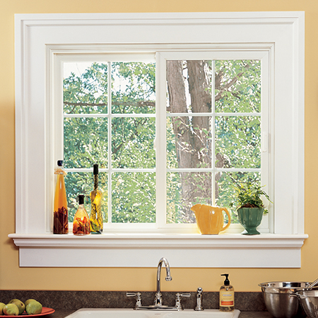 Slider window above kitchen sink.
