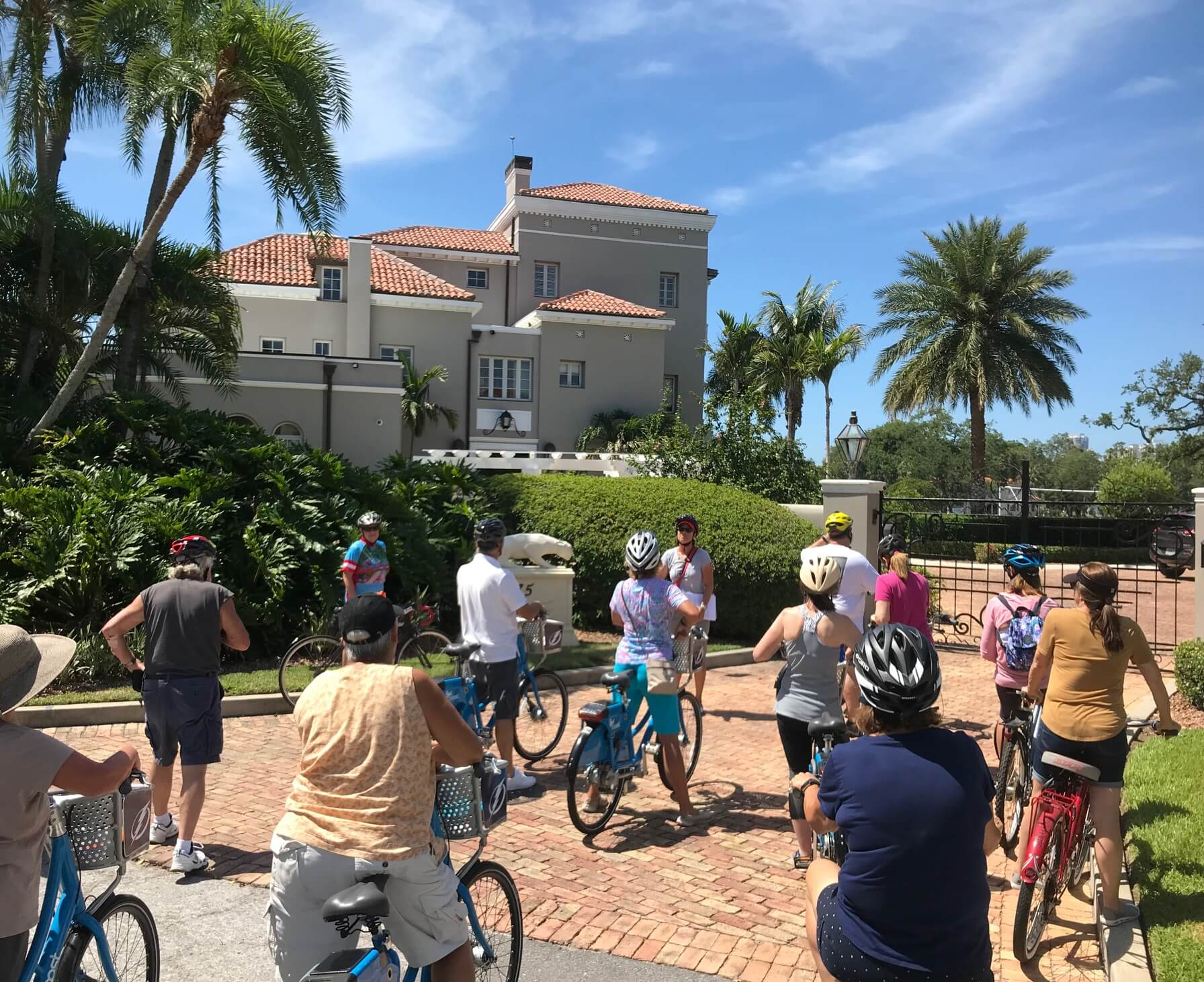 Bike group taking a tour of historical