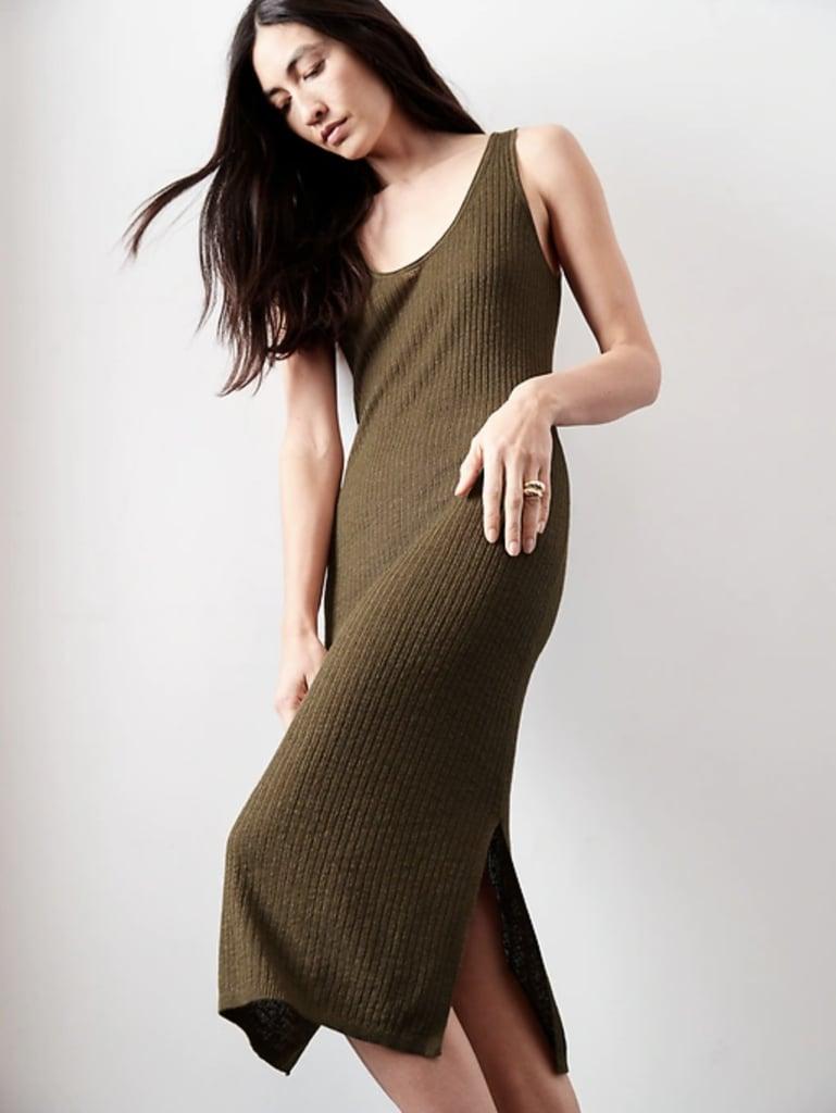 Banana Republic Linen-Blend Ribbed Sweater Dress
