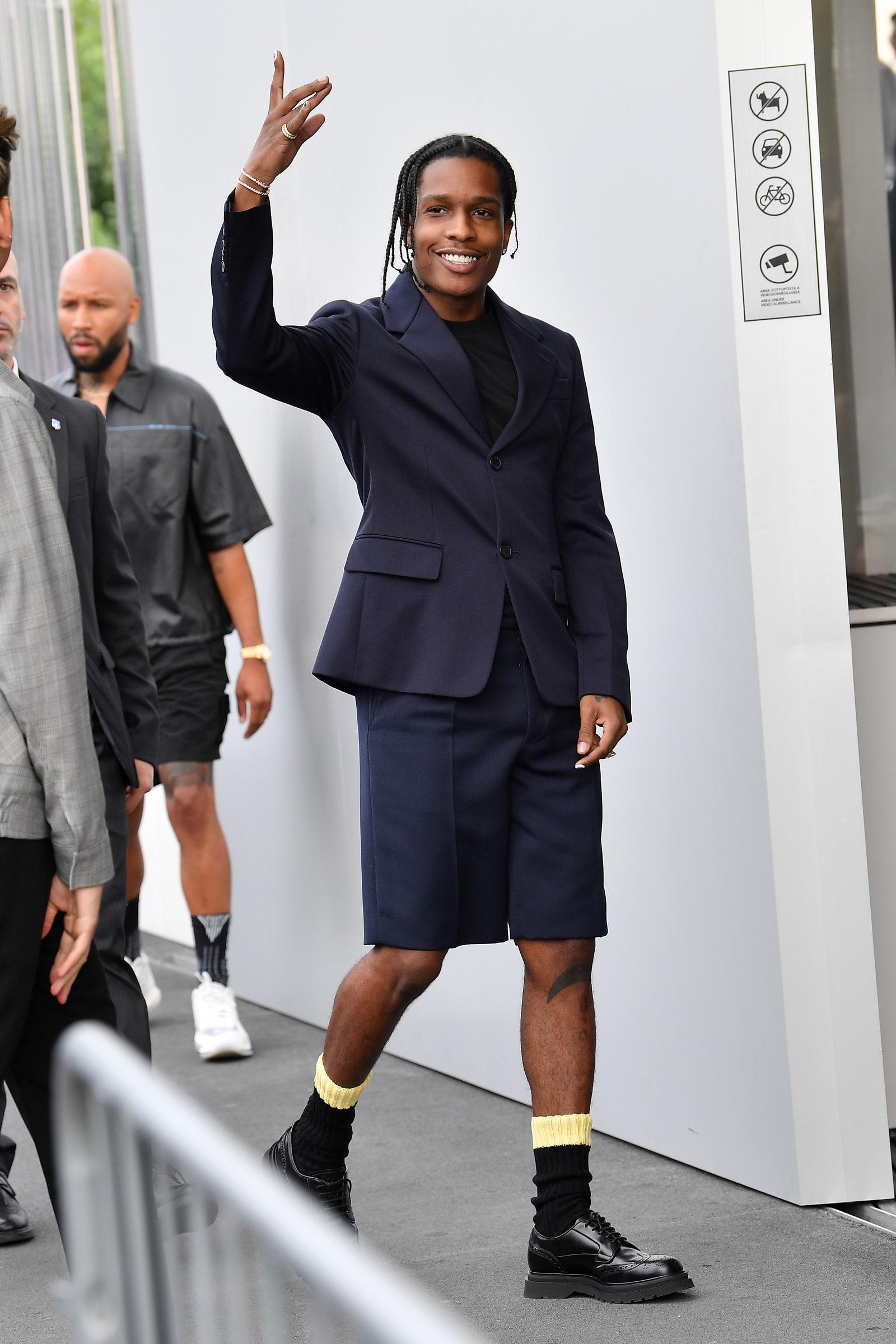 AAP Rocky letting his legs breathe in Milan 2019.