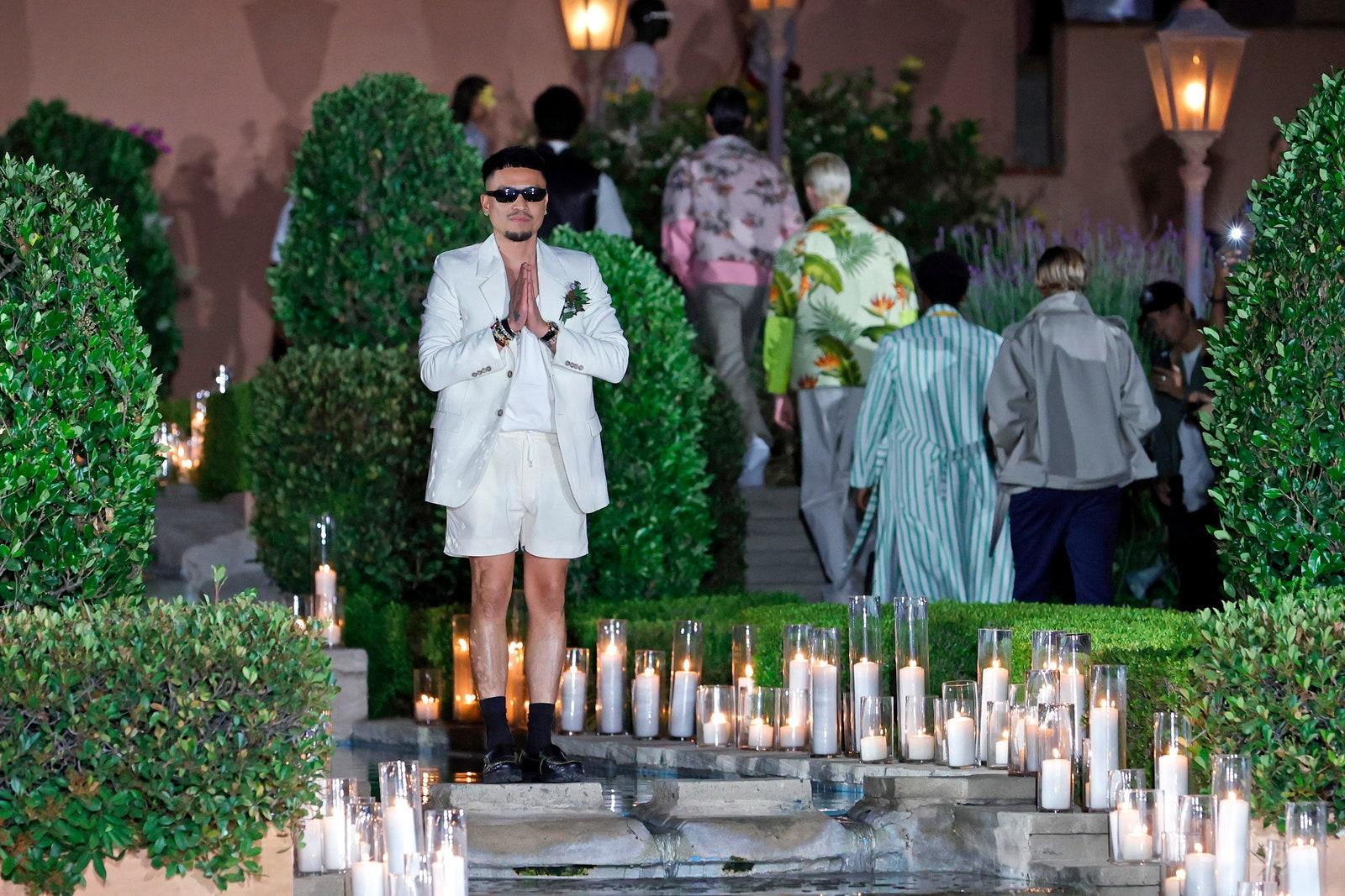 Rhude designer Rhuigi Villaseor takes his postshow bow in shorts.