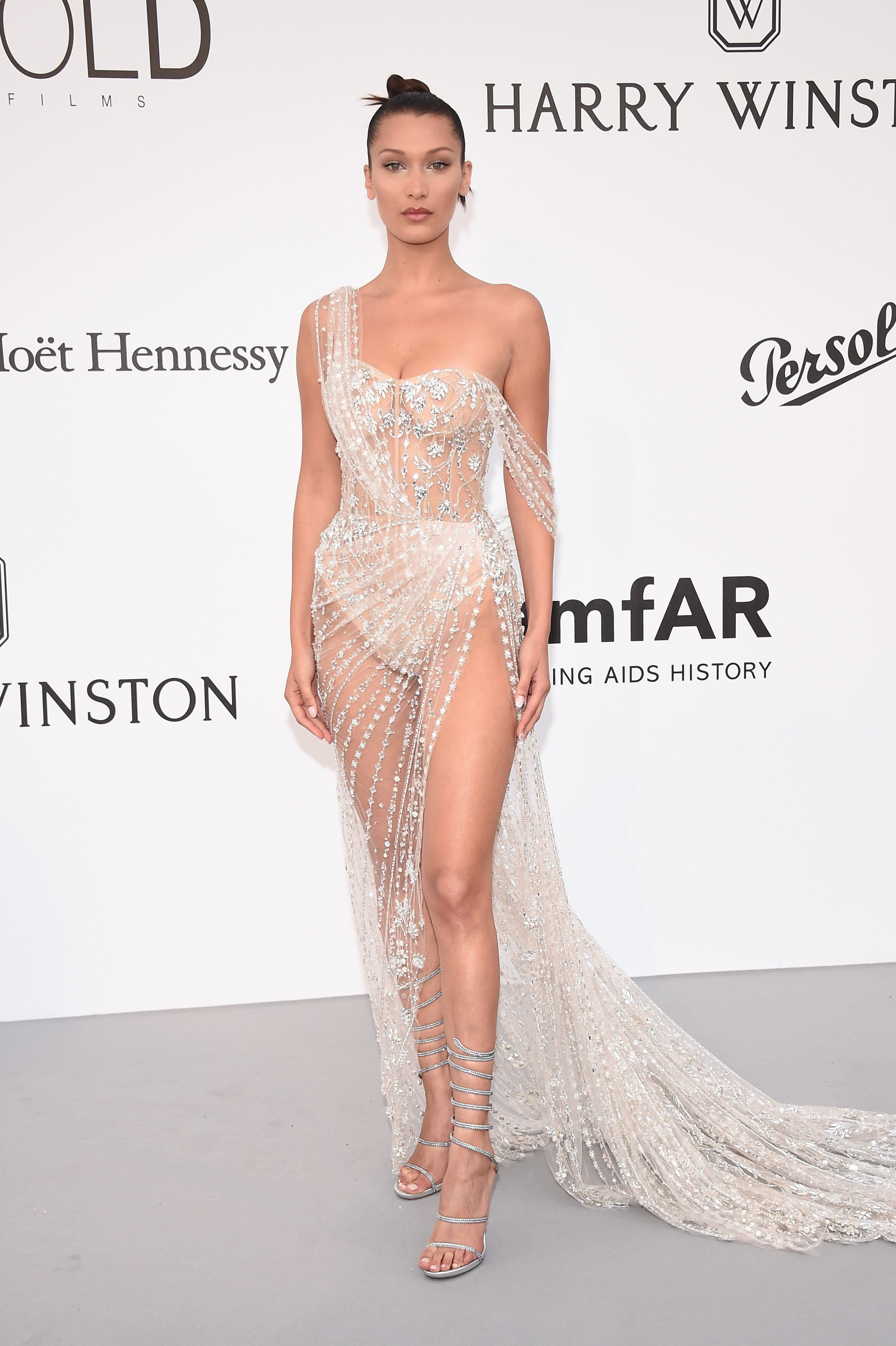 bella hadid wearing a sheer crystal couture dress at cannes film festival 2017