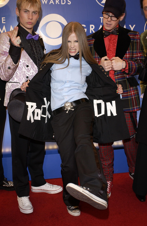Avril Lavigne with her ROCK ON jacket on the 2003 Grammy Awardsred carpet