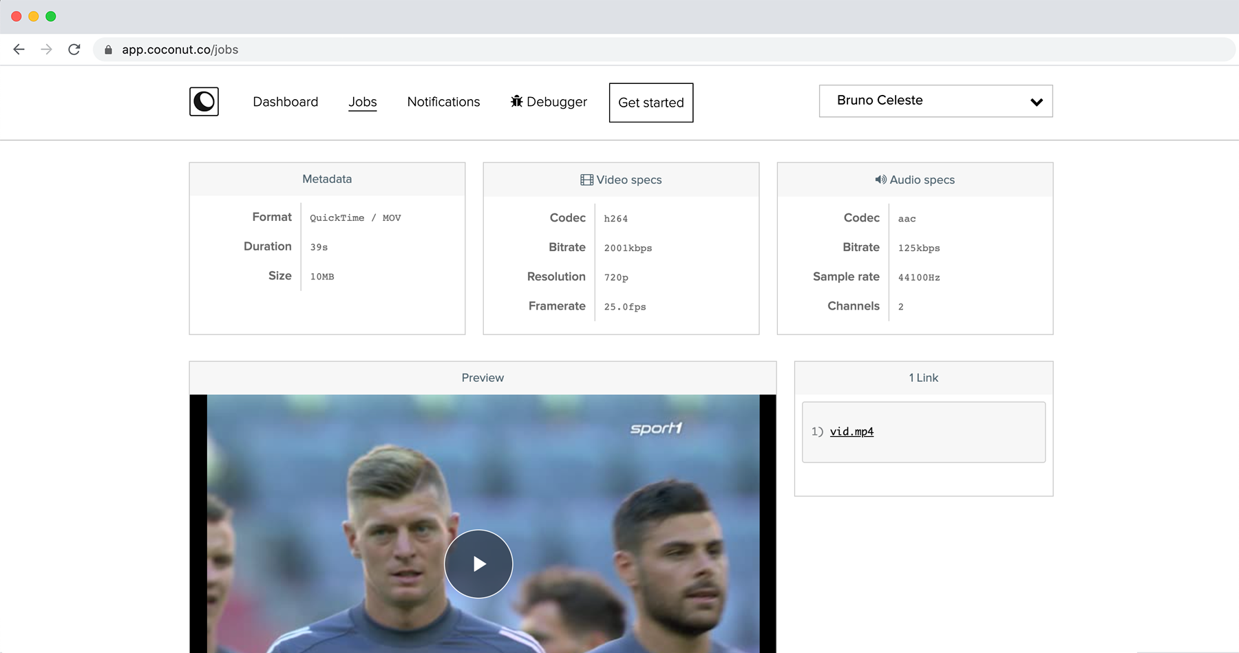 Job's preview page