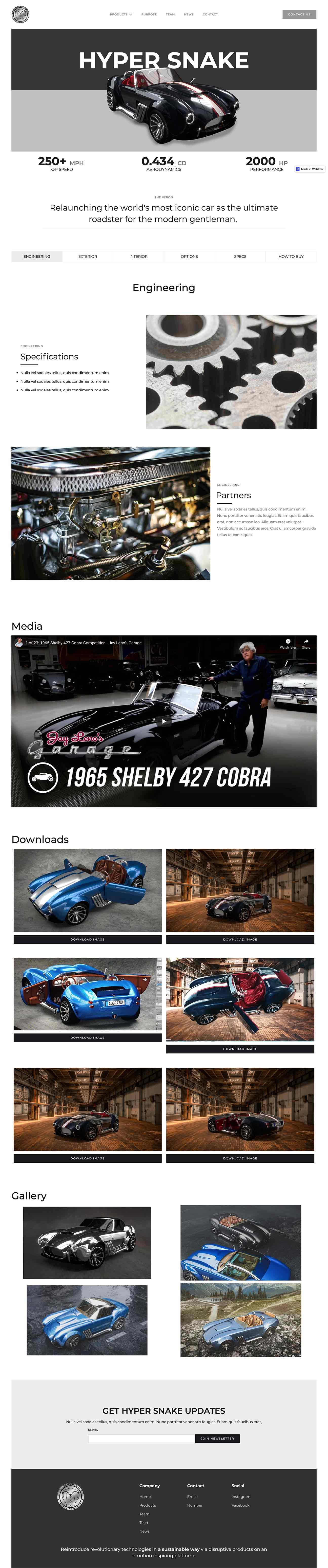 Custom website designed for car manufacturer