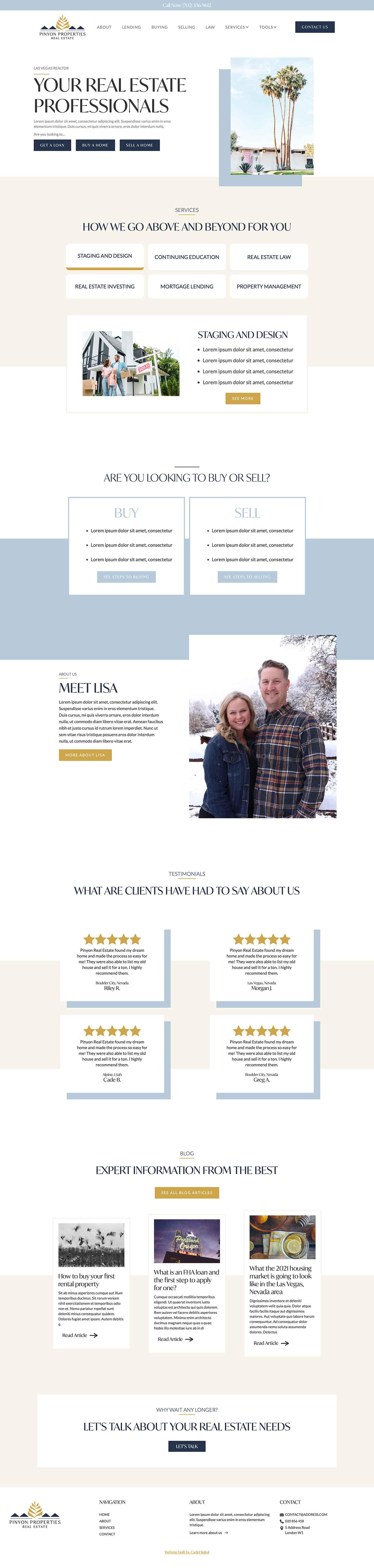 Custom web design for a real estate agent
