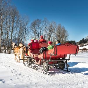 Eine romantische Kutschenfahrt durch das Ellmauer Winterwonderland.