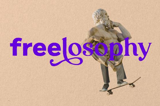 Illustration von griechischer Statue auf Skateboard