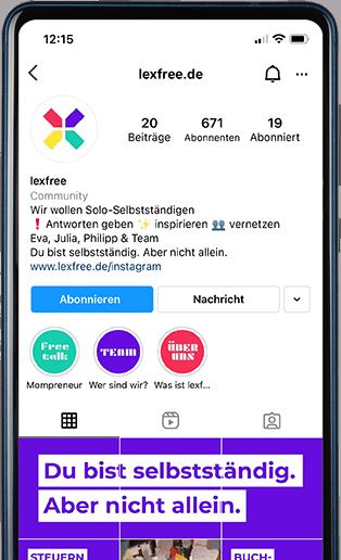 Smartphone mit Screenshot des lexfree Instagram Accounts