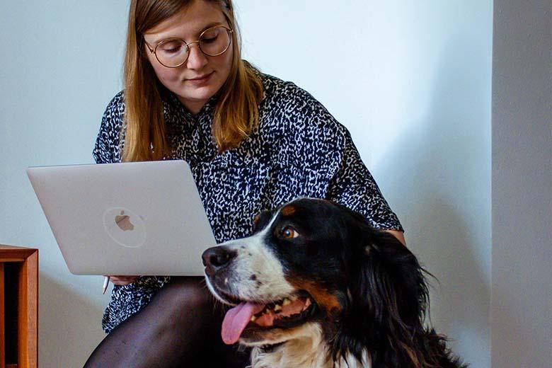 Frau mit Laptop auf Schoß, neben der Bernasennen-Hund sitzt