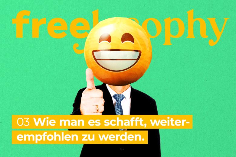 freelosophy 03: Illustartion von lachendem Smiley auf Männeroberkörper im Anzug