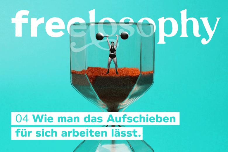 freelosophy 04: Illustartion von Sanduhr mit Miniatur-Gewichtheberin darin