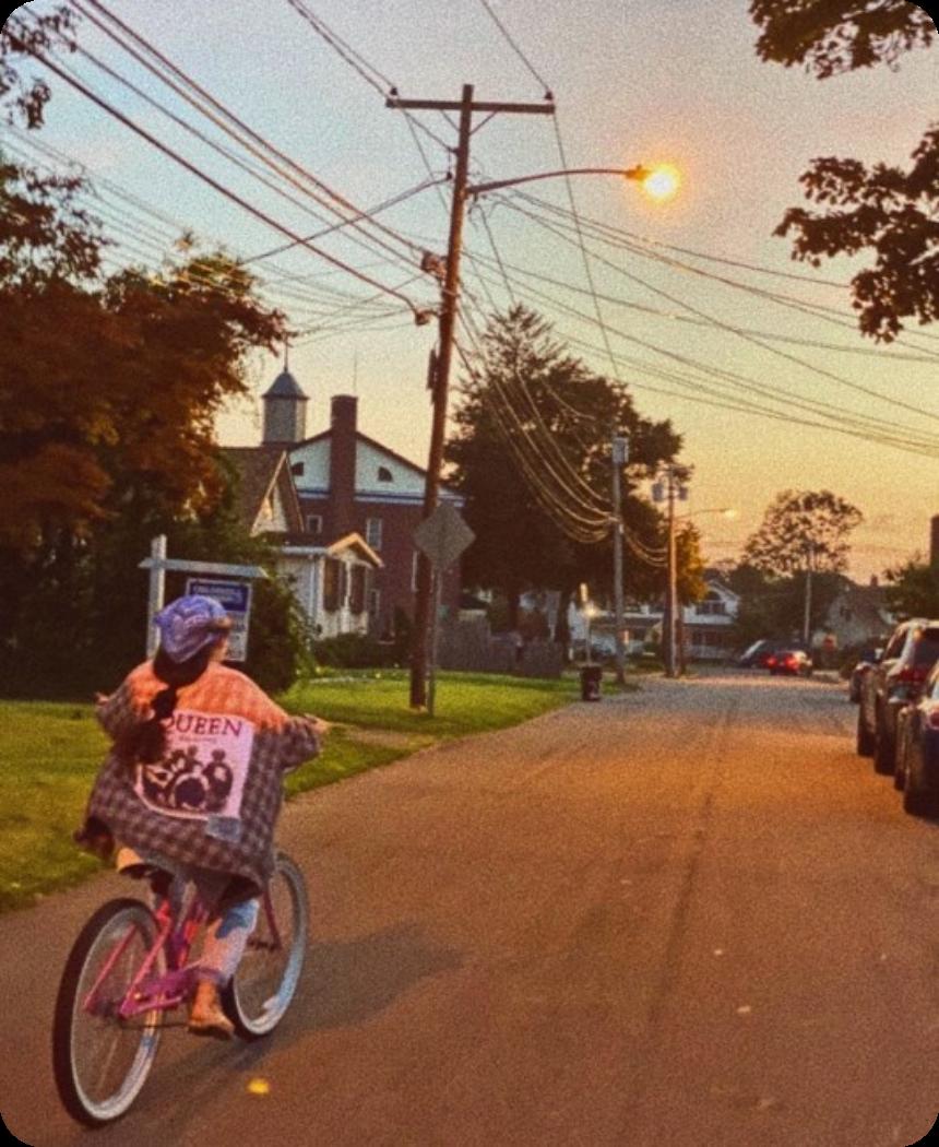 Sofia riding her bike