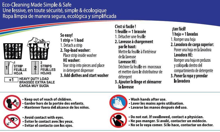 Instructions pour les détergents à lessive Avertissement