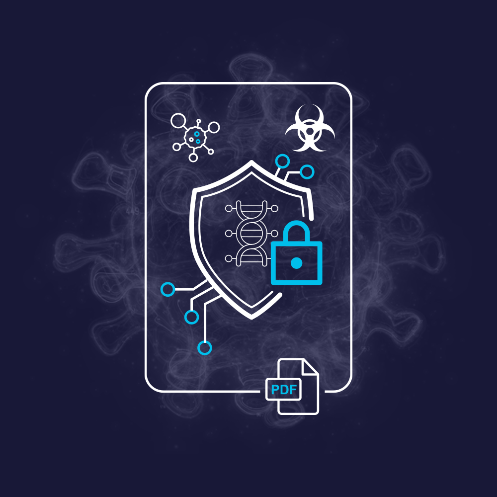 An icon of a research report with biology and security imagery around it.