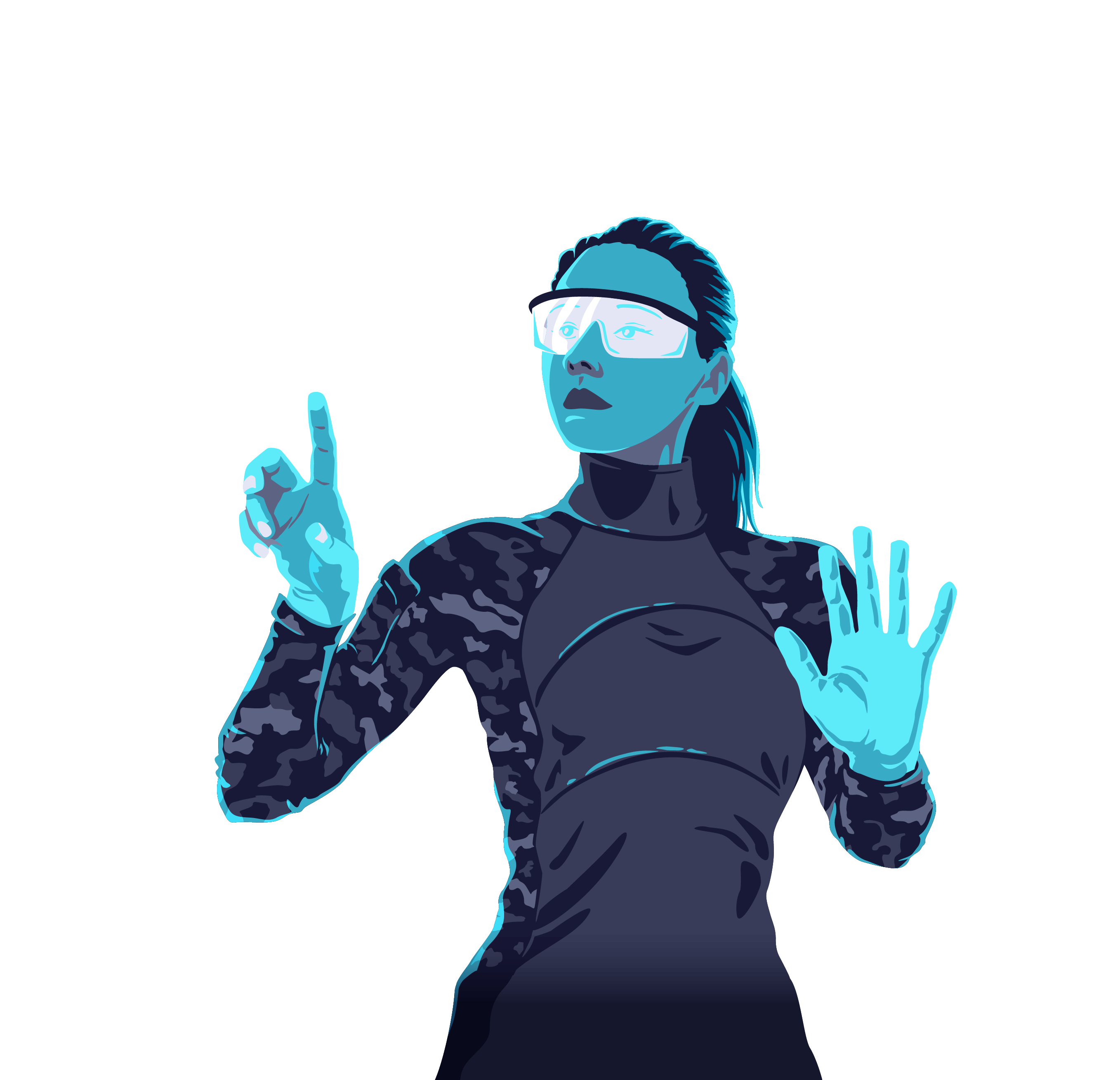 An illustration of a person looking through augmented reality goggles and moving technology along the conceptual acquisition pipeline.