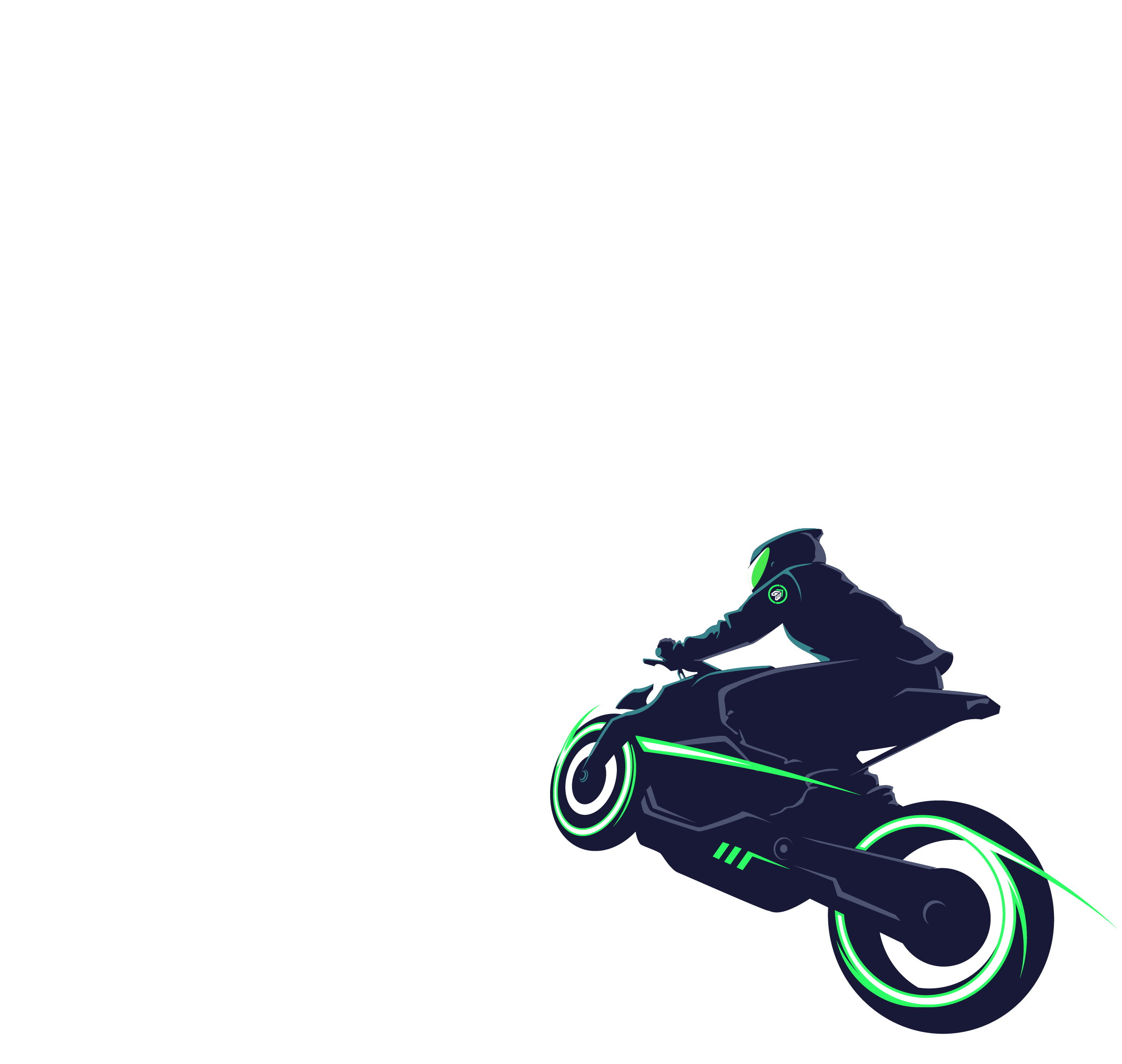 An illustration of a person riding a motorcycle through a forest with multiple checkpoints to reach a digital mountain.