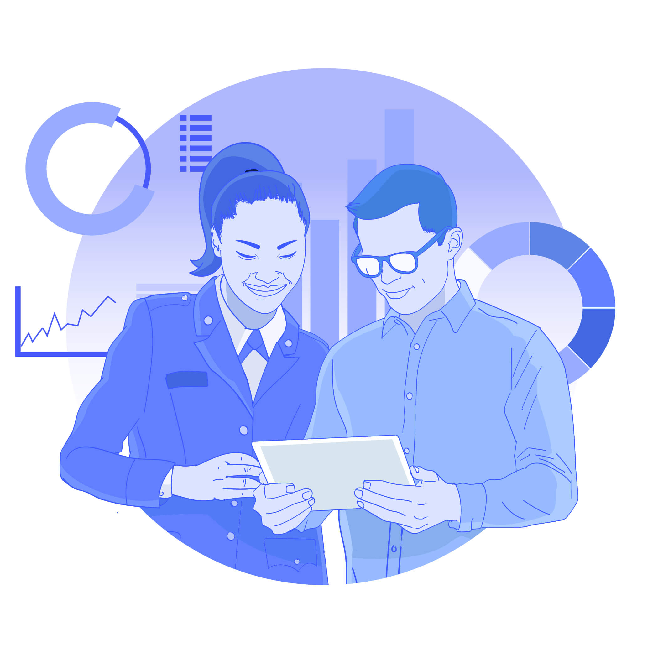 Capabilities graphic show two people looking at data