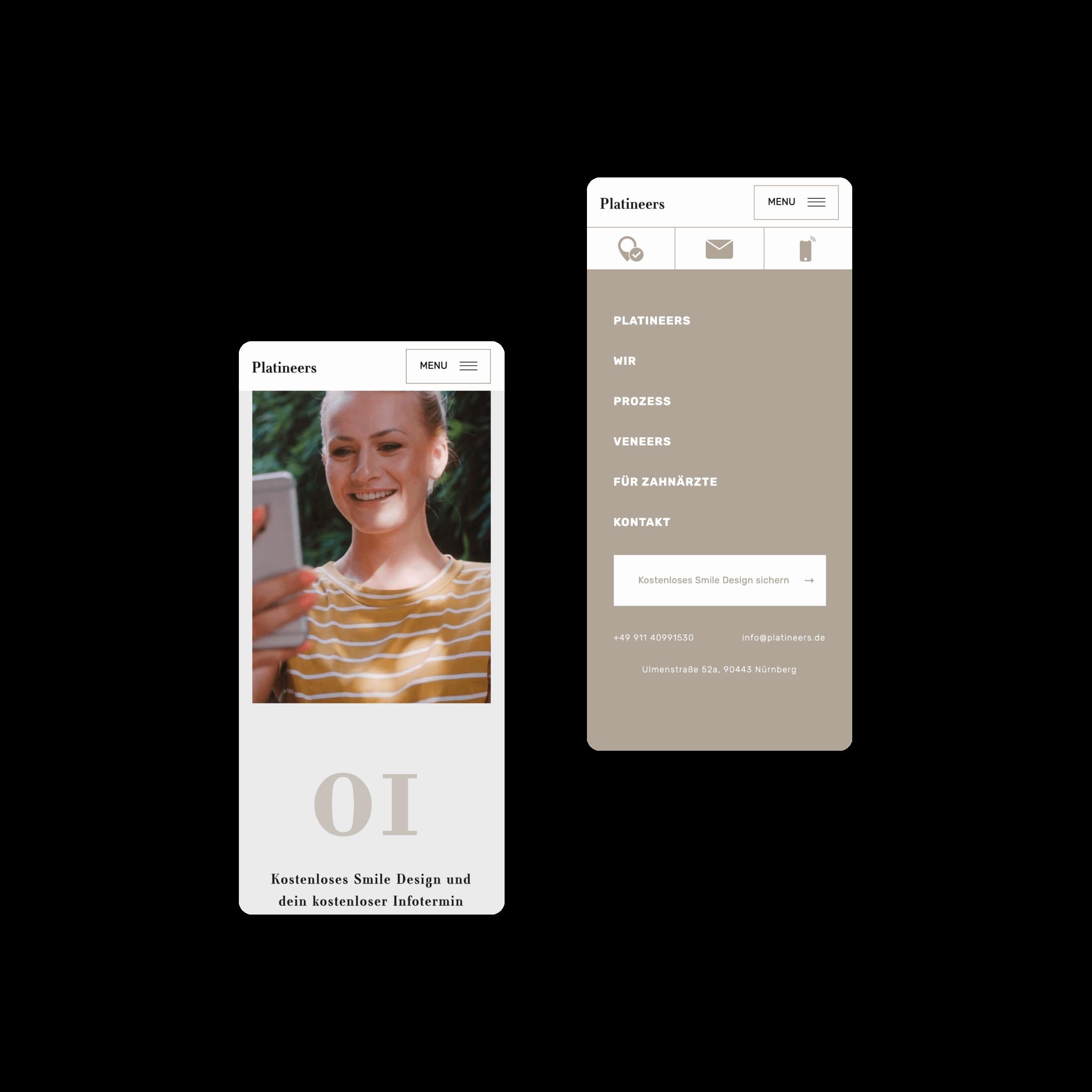 Bild der mobilen Website von Platineers, erstellt von Hofling - Studio für Webdesign.