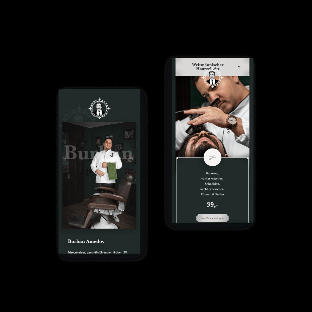Bild der mobilen Website von Weltmann Barbershop in Ulm . erstellt von Hofling Studio
