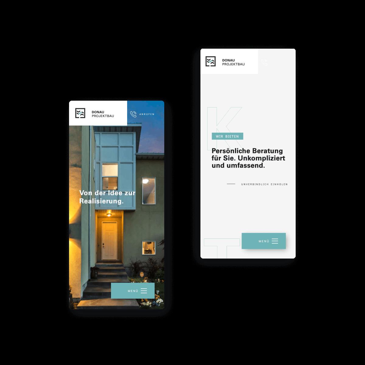 Bild der mobilen Website von Donau Projektbau - erstellt von Hofling Studio