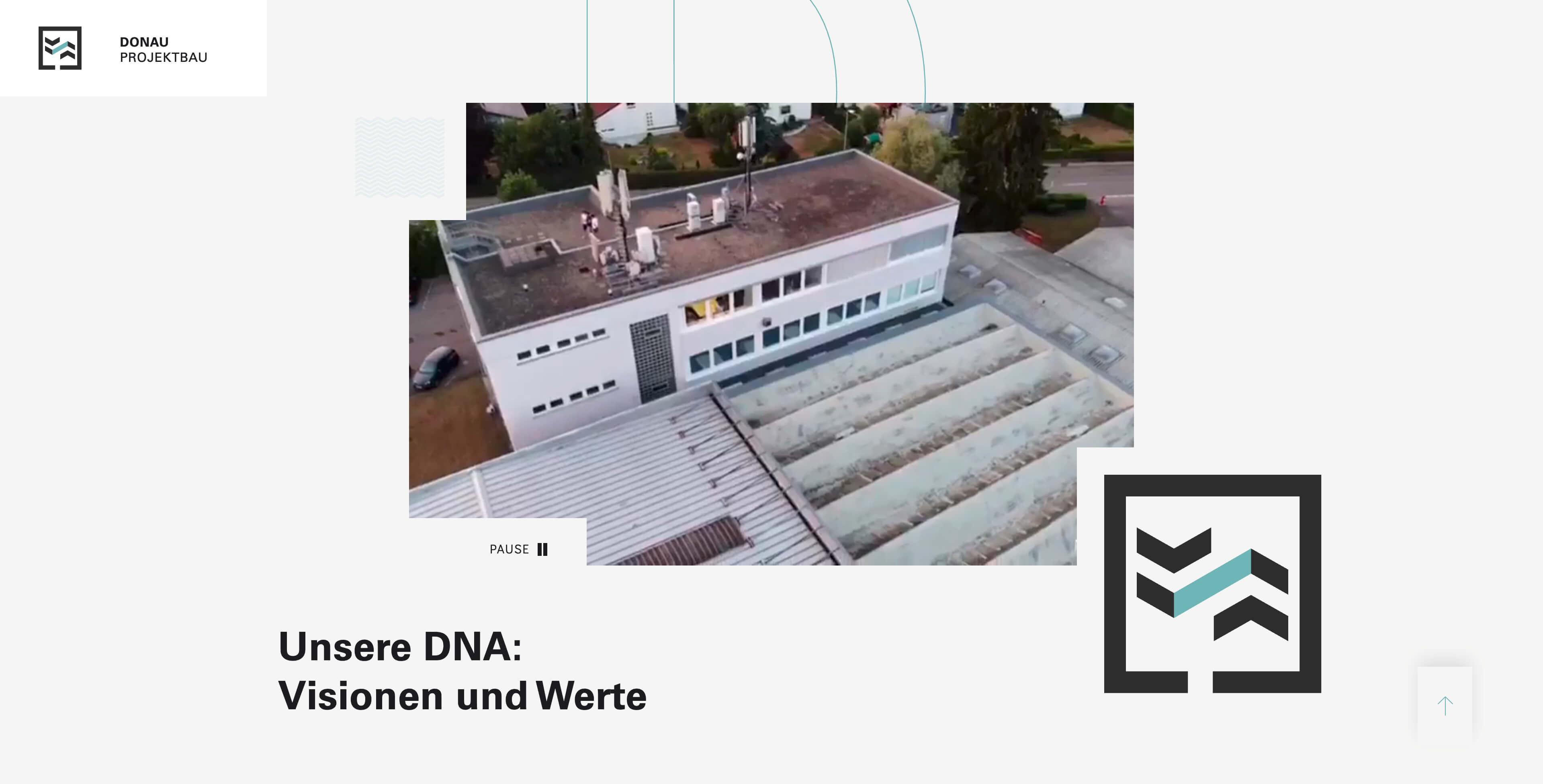 Bild der Website von Donau Projektbau erstellt von Hofling - Studio für Webdesign