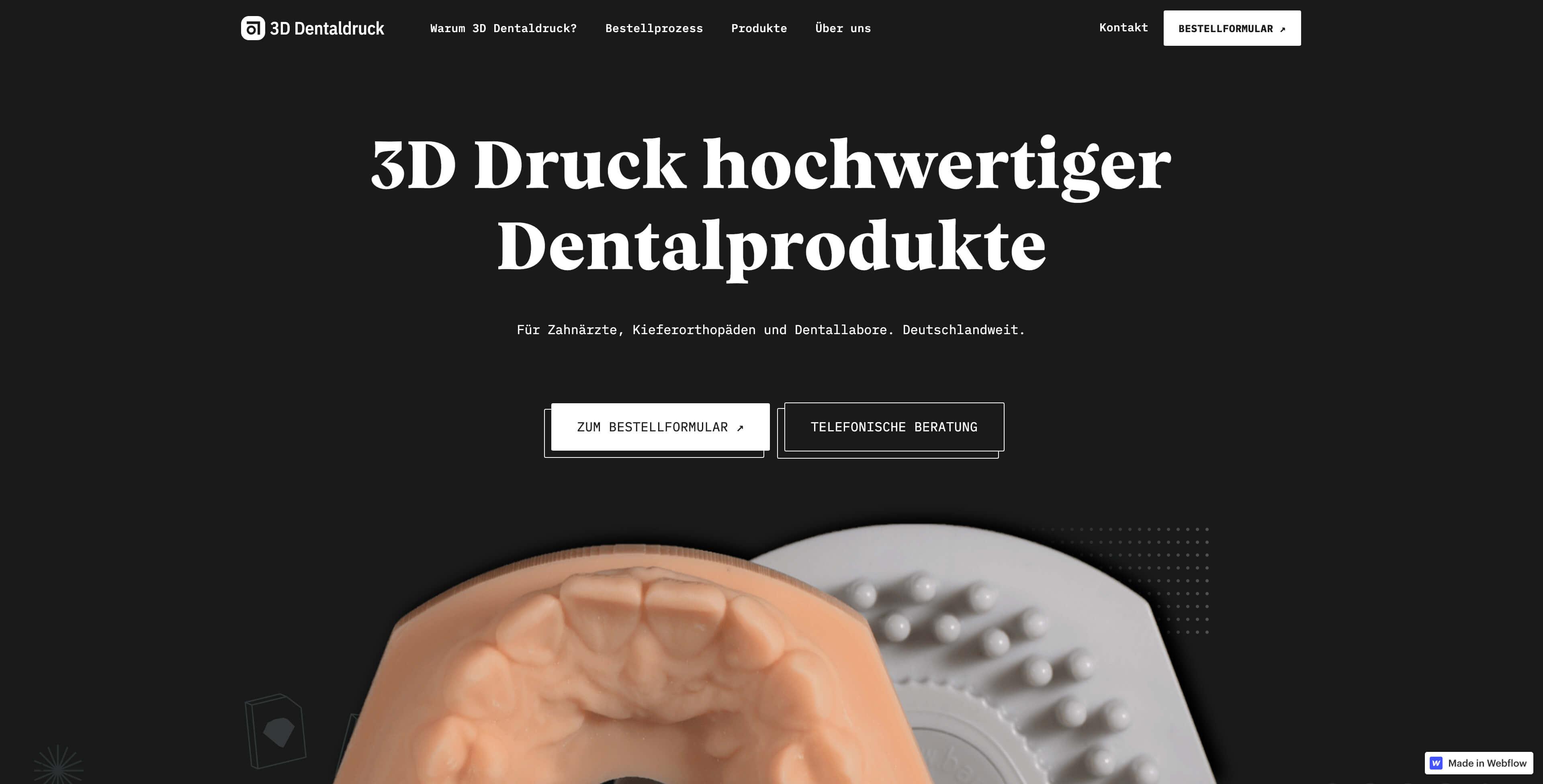 Bild der Landingpage von 3D Dentaldruck erstellt von Hofling - Studio für Webdesign
