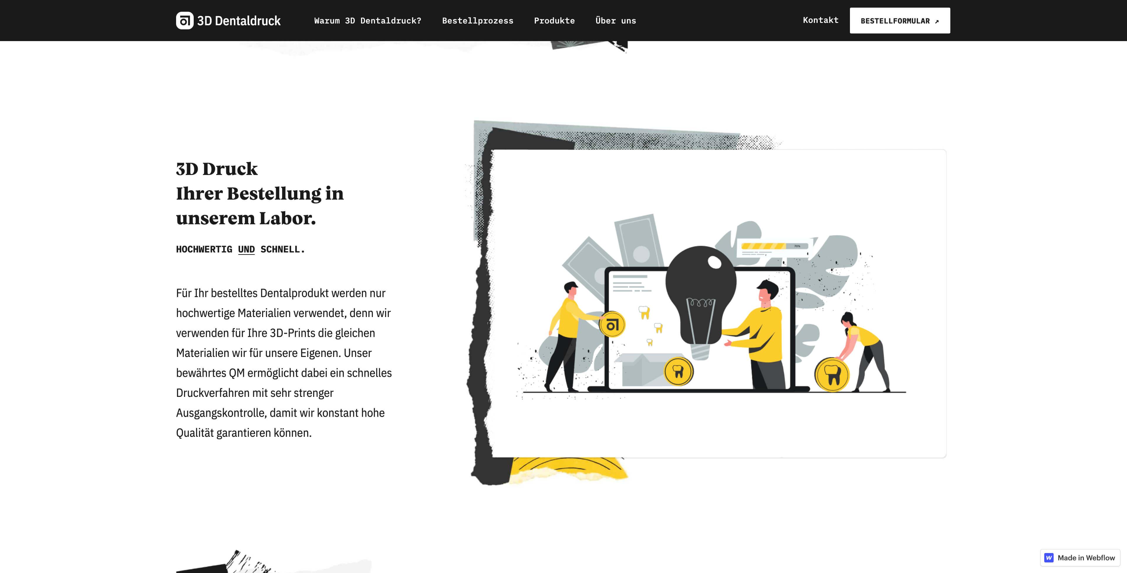 Bild der Website von 3D Dentaldruck erstellt von Hofling - Studio für Webdesign