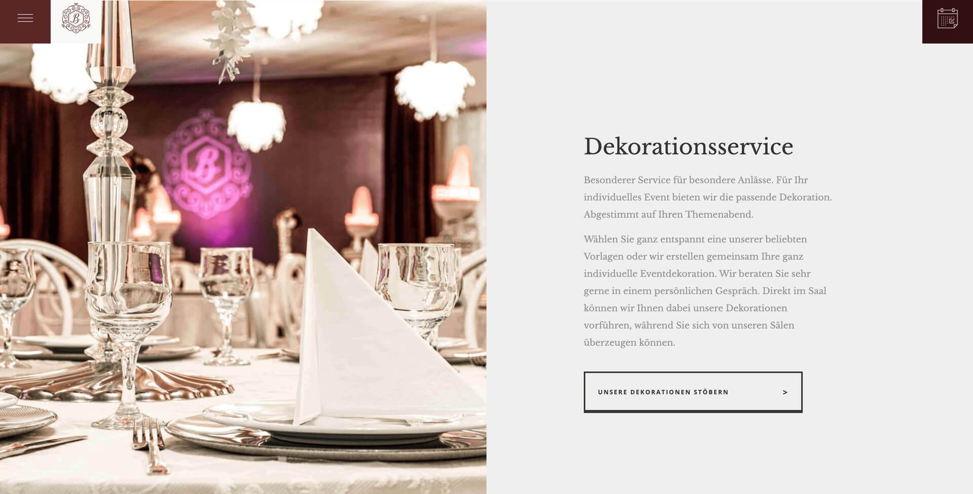 Bild der Website von Bordo Event Location erstellt von Hofling - Studio für Webdesign