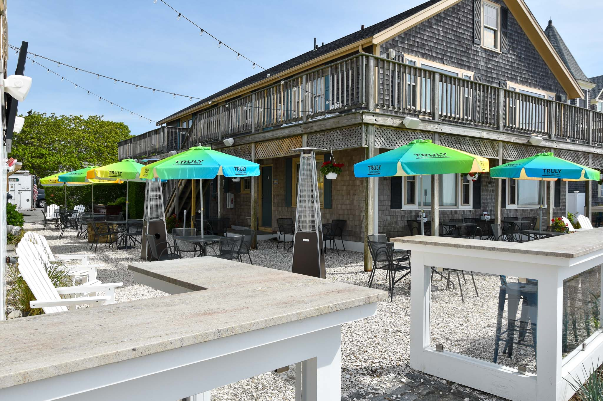 Outdoor seating at the Shipwrecked Falmouth