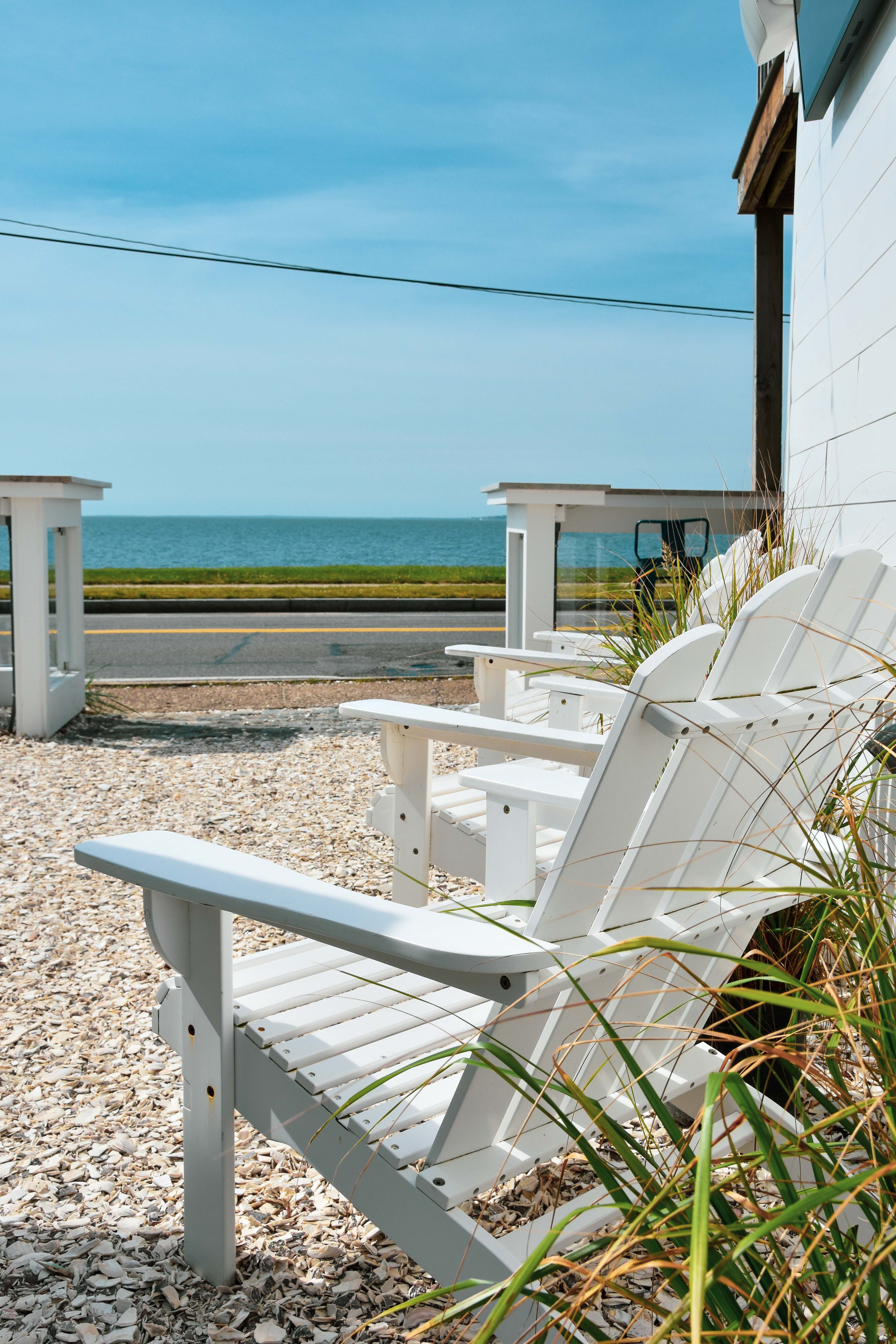 A view of the beach and chairs from Shipwrecked