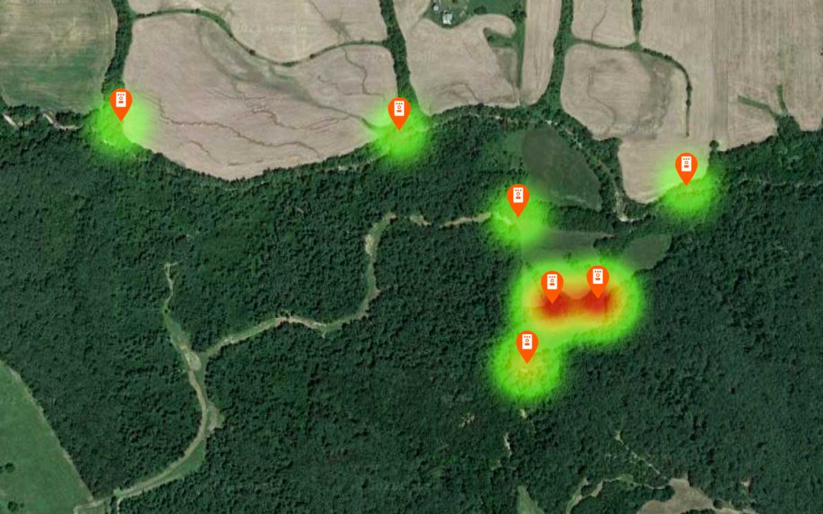 Satellite heat map showing where animals have been.