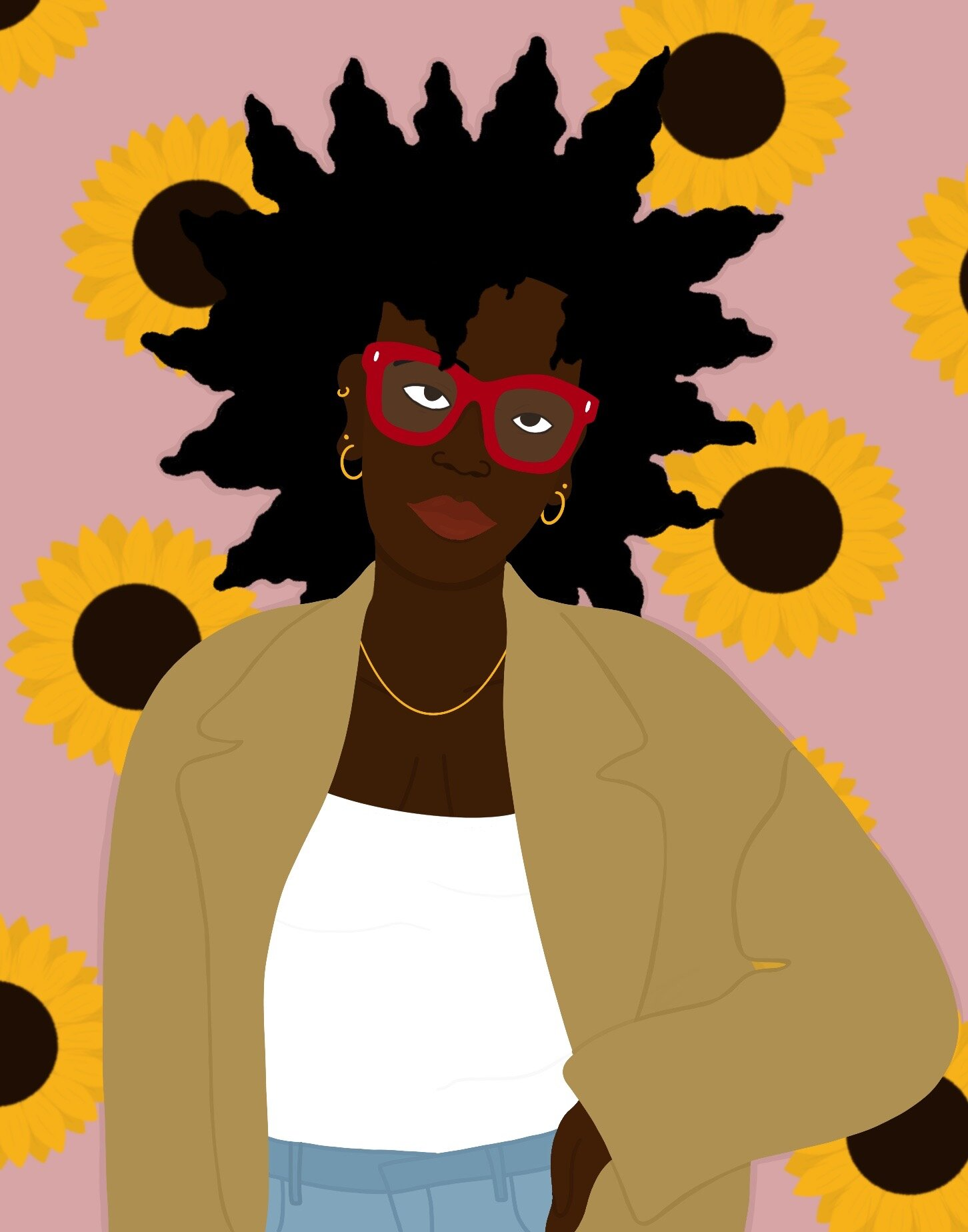 A woman in a camel coat with big red glasses poses with her hand on her hip in front of a pink background with sunflowers.