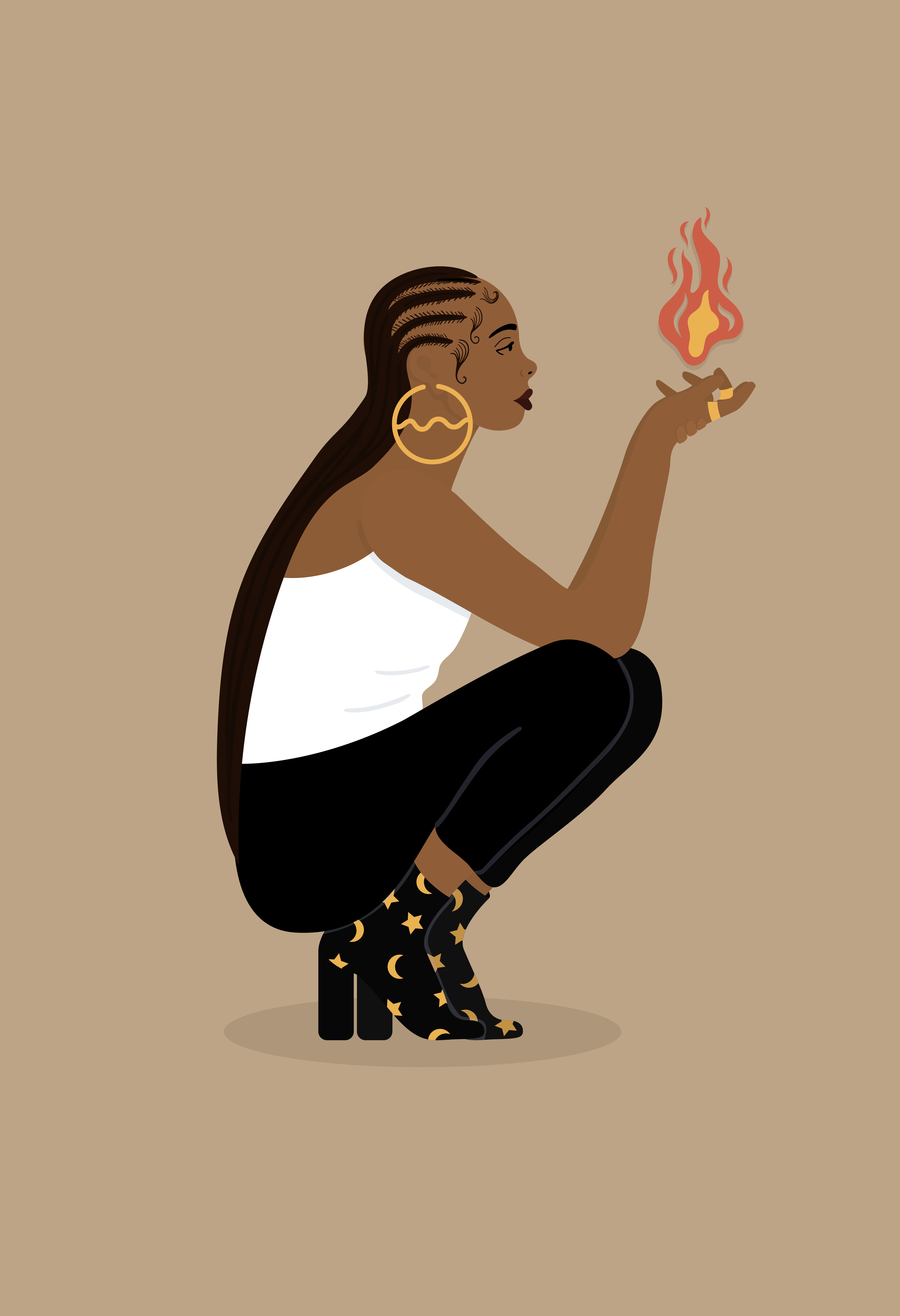 A woman crouches on the ground facing the right, holding fire in her hands on a brown background.