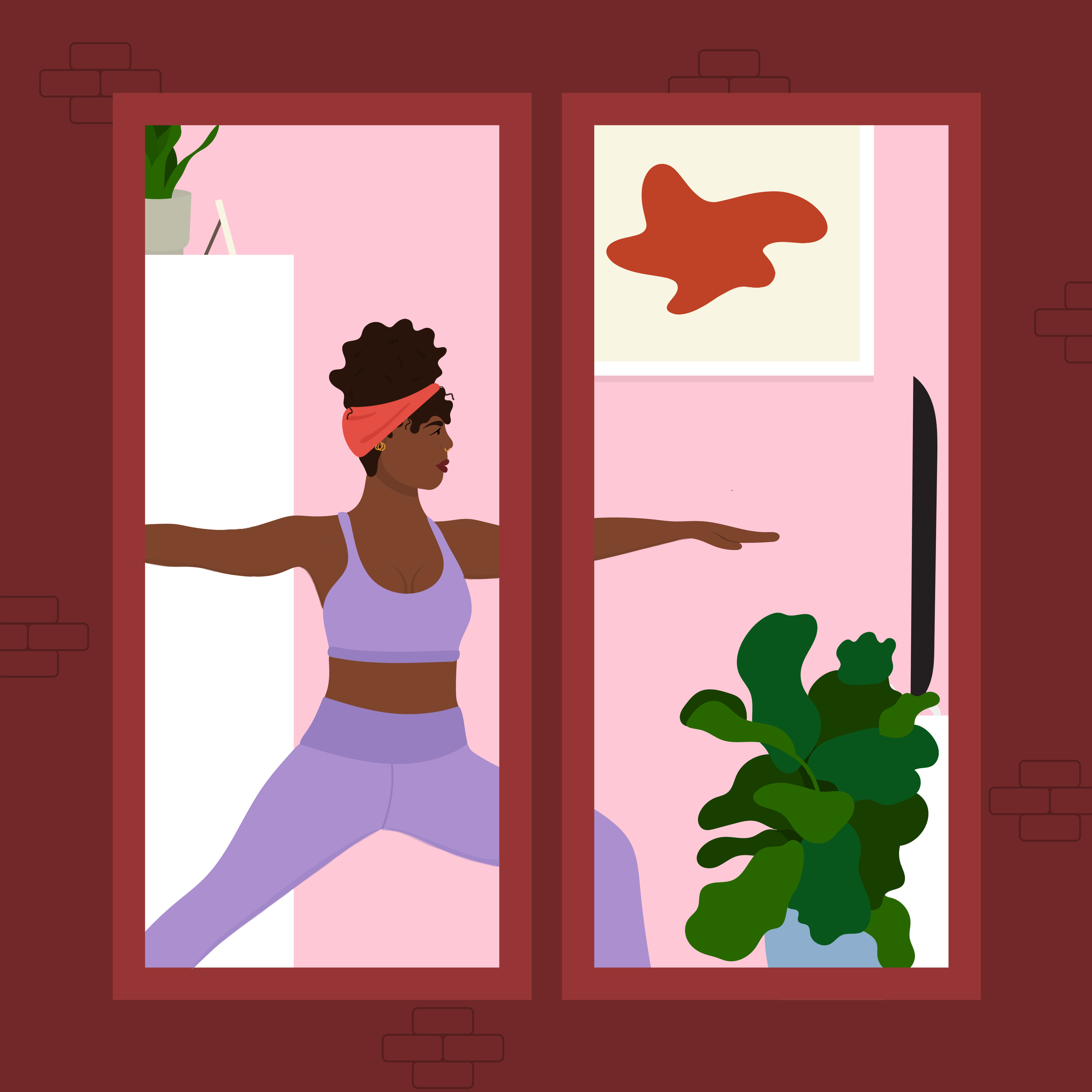 A view of a woman doing yoga through the windows of a red building.