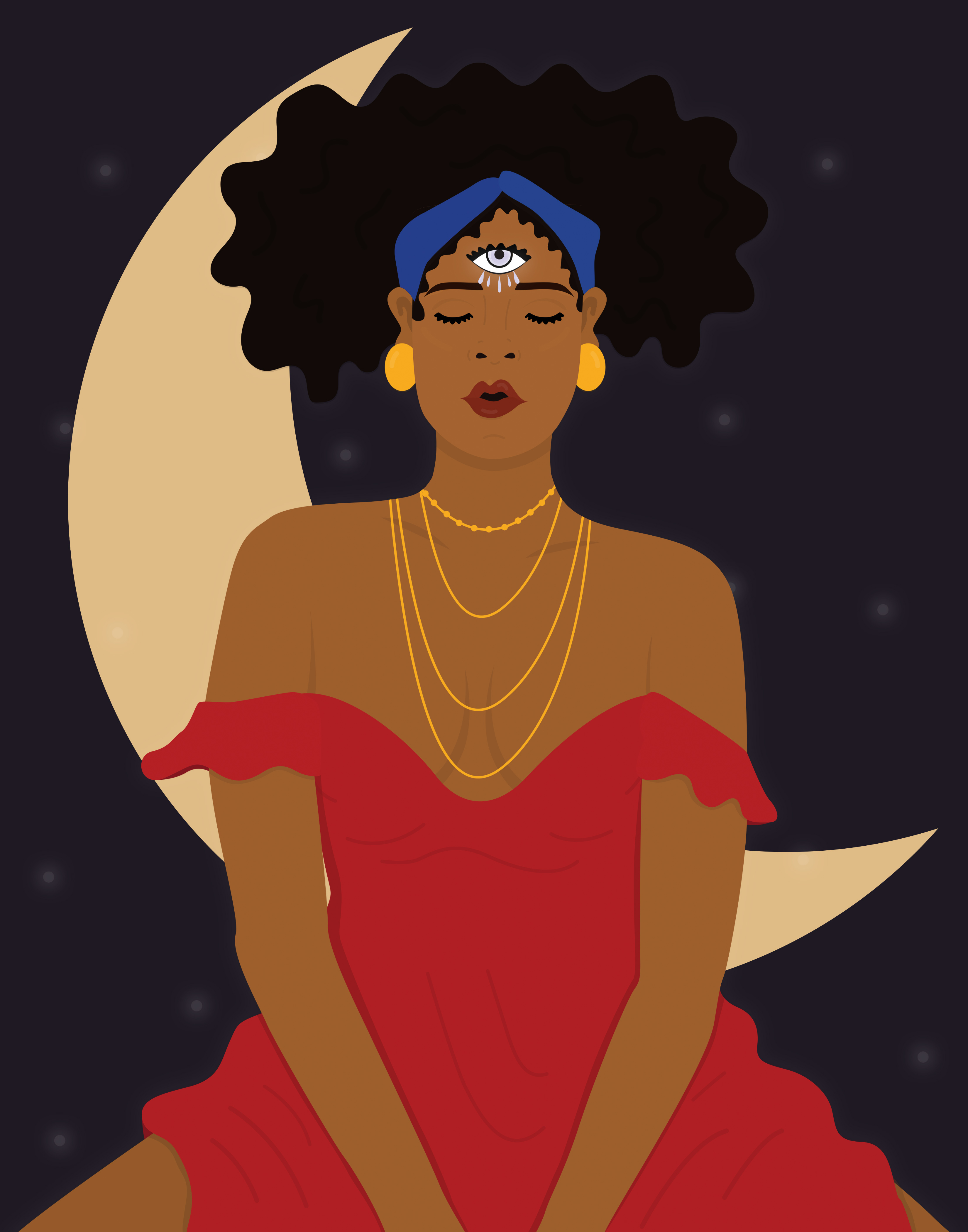 A woman in a red dress with her eyes closed and her third eye open sits in front of a yellow crescent moon.