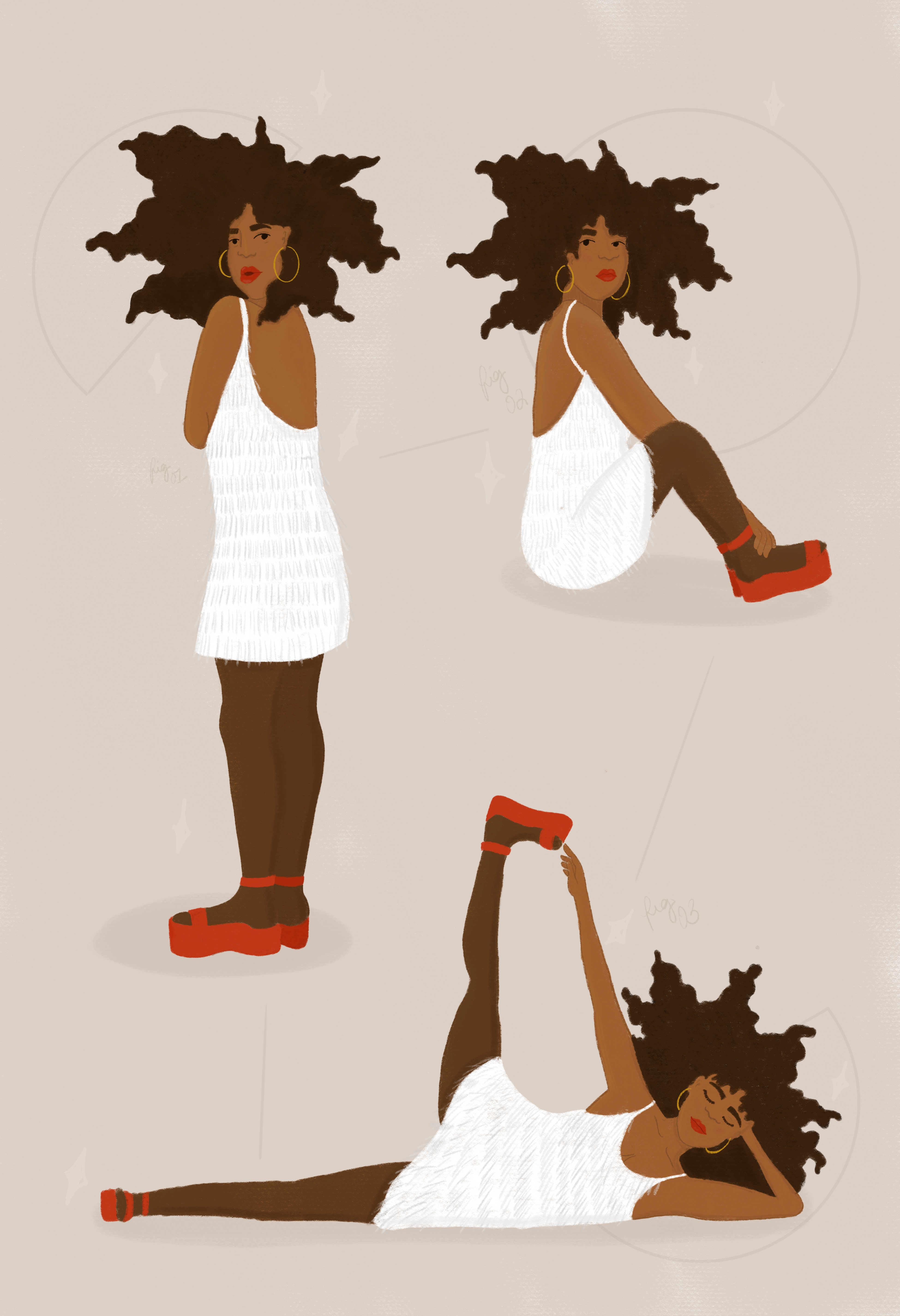 One character in a white dress and big, kinky hair in three poses on a beige background.