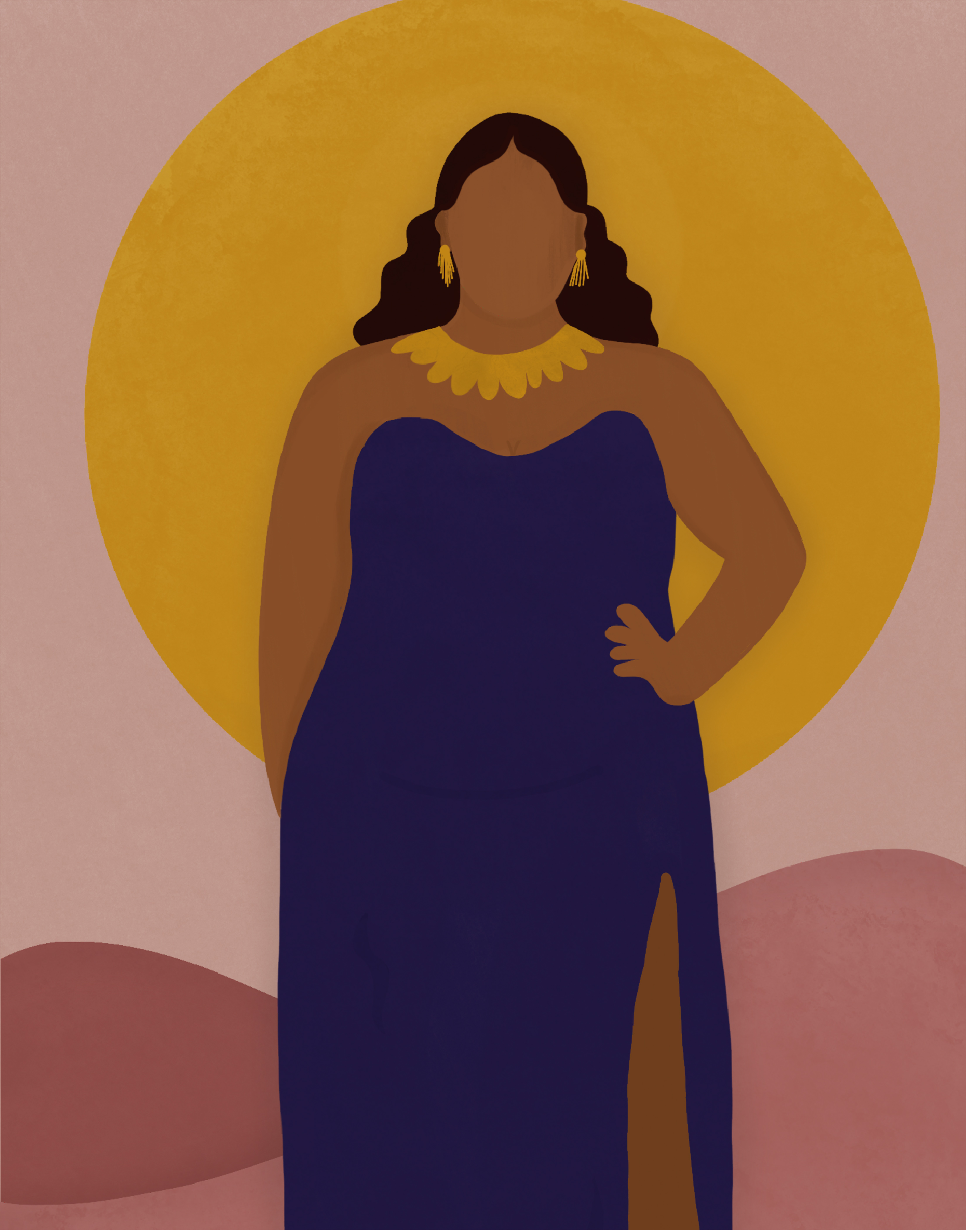 A woman in a cobalt dress stands in front of pink hills and a gold sun.