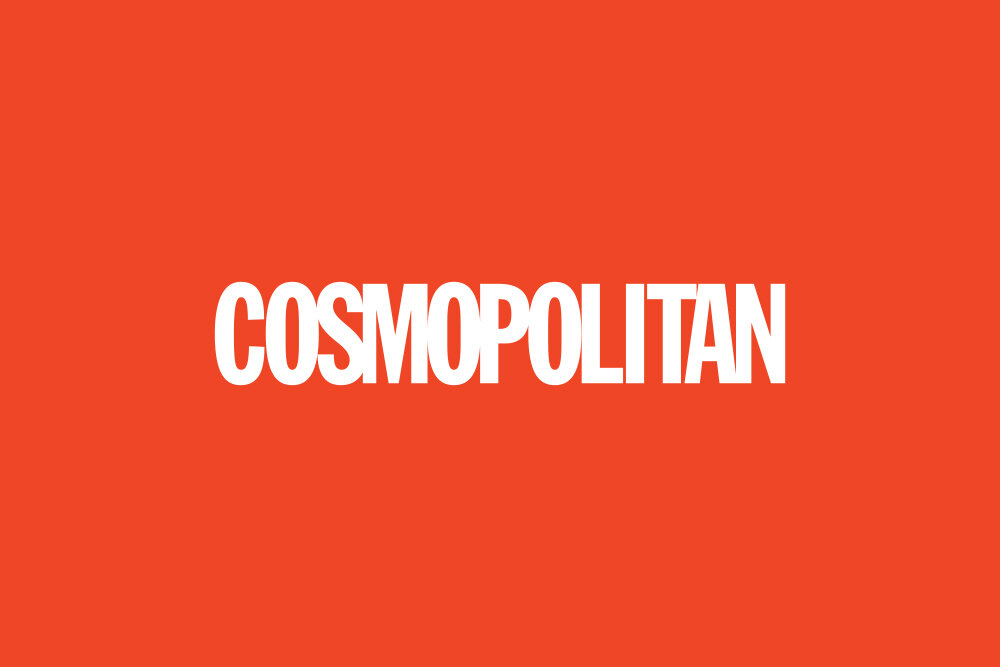COSMOPOLITAN logo in white on a red background.