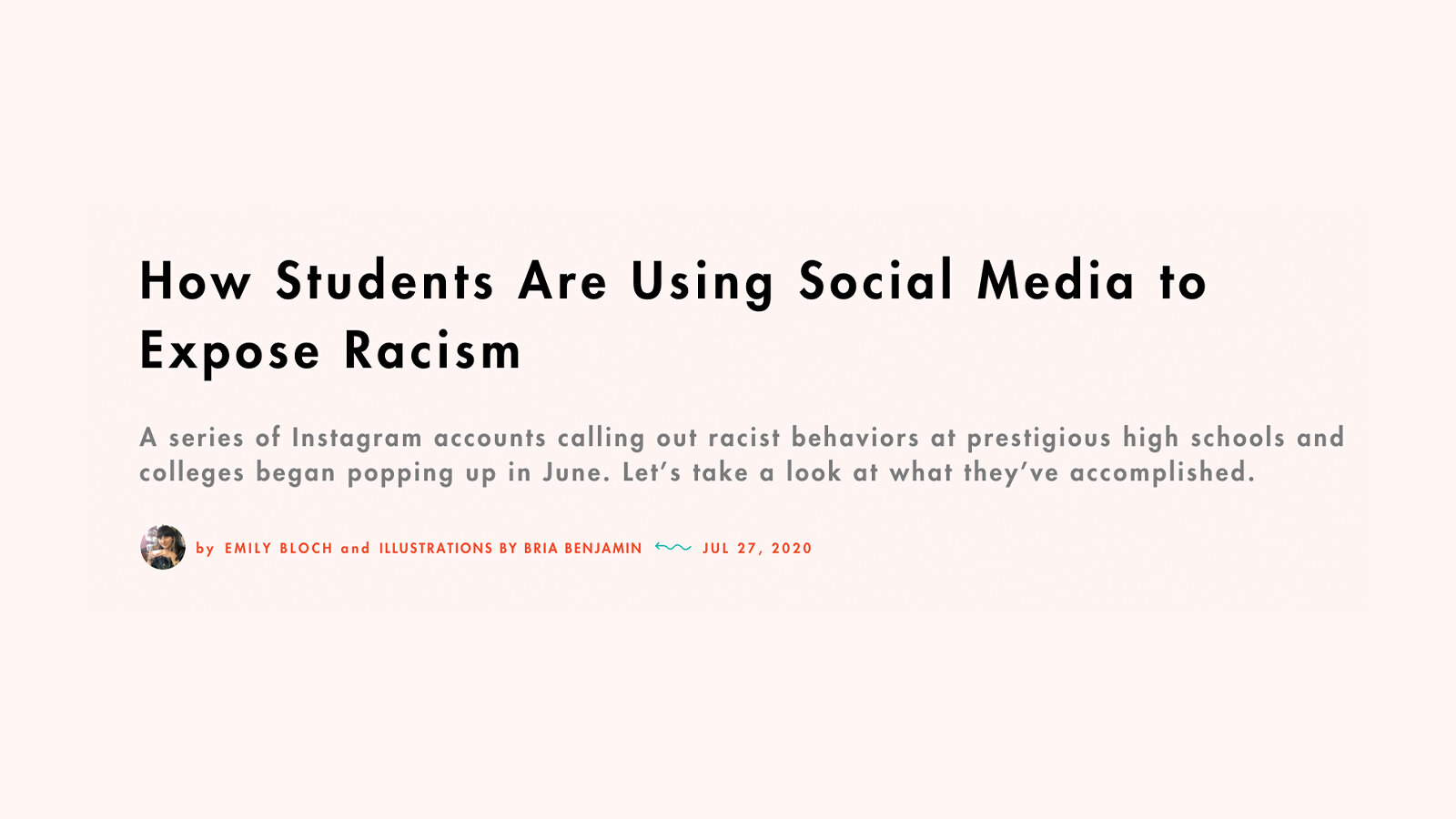 """""""How Students Are Using Social Media to Expose Racism"""" on a peach background."""