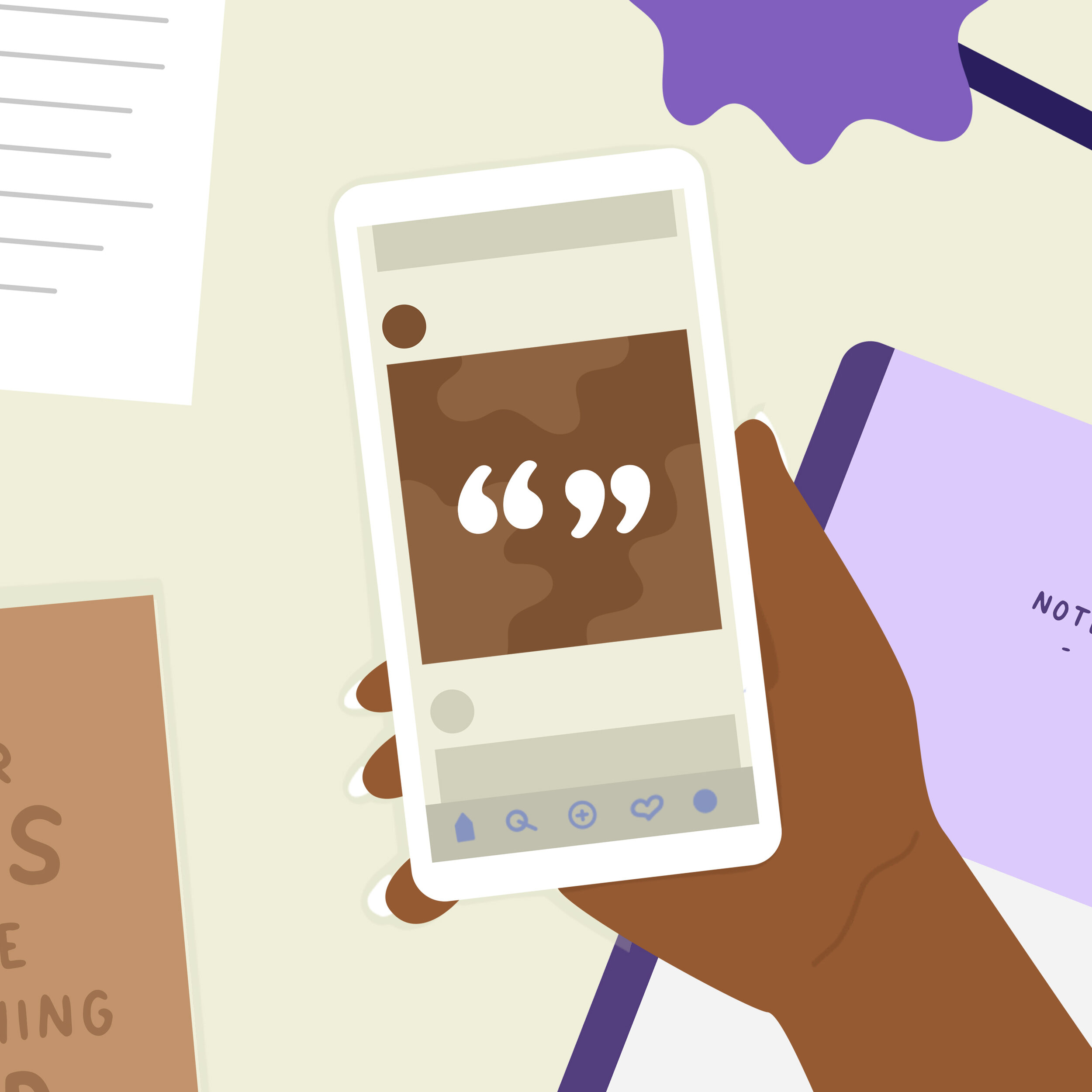 A Black character holds a phone with quotes on a Brown background over a desk.